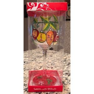 Hand-Painted Holiday Wine Glass